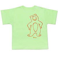 Детская футболка  (Зеленый, мишка)