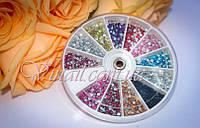 Стразы для ногтей в карусельке 12 цветов, 2мм