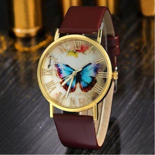 Часы Geneva butterfly (brown) - гарантия 6 месяцев