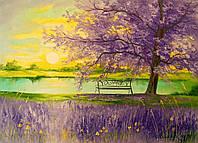 «Рассвет на берегу» картина маслом