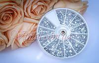 Стрази для нігтів в карусельке, колір срібло 3600 шт., фото 1