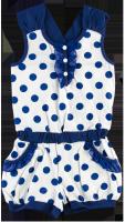 Летний комбинезон для девочки белый в синий горошек