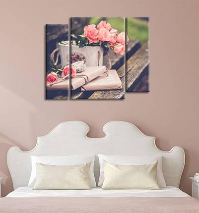 Модульная картина Цветы на лавочке, фото 2