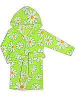 Теплый детский халат ( Зеленый, ромашки)