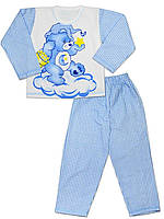 Теплая детская пижама (кофта и брюки) (Голубой)