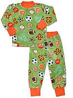 Теплая детская пижама (кофта и брюки) (Зеленый, мячи)