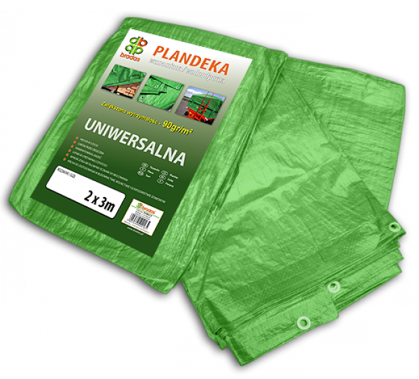 Тент 5х8м 90 гр/м.кв. (тарпаулин) водонепроницаемый из полипропилена пр-во Польша ТМ Bradas Green