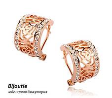 Сережки GOLDEN ROSE ювелірна біжутерія золото 18К декор кристали Swarovski