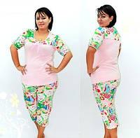 Хлопок пижама хенская, футболка+капри в комплекте, есть батальные размеры. Домашняя одежда розница, оптом.