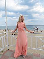 Женское  платье в пол в нежно-розовом цвете