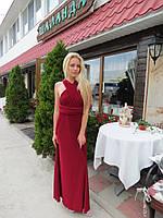 Женское  платье в пол в бордовом цвете