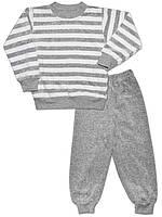 Велюровая детская пижама (кофта и брюки) (Серый)