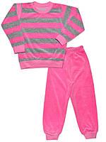 Велюровая детская пижама (кофта и брюки) (Розовый)