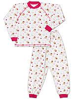 Велюровая детская пижама (кофта и брюки) (Белый с розовым)