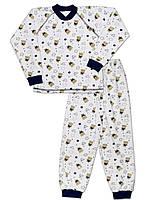 Велюровая детская пижама (кофта и брюки) (Белый с синим)