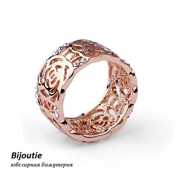Кольцо ROSE ювелирная бижутерия золото 18К декор кристаллы Swarovski