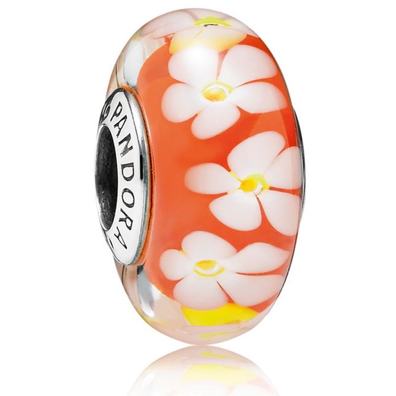 Подвеска-шарм с узором в виде тропических цветов и оранжевым муранским стеклом в стиле Pandora