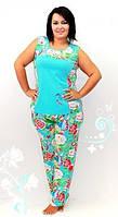 Стильная женская пижама, хлопок, батальные размеры, разные цвета. Домашняя одежда в розницу и оптом в Украине.