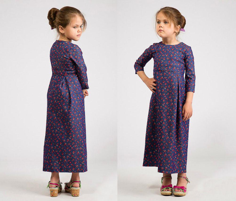 """Детское длинное платье 2-105 """"Джинс Цветы Макси"""""""