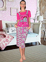 Пижама (футболка и капри) (Малиновый)