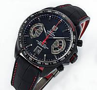 Мужские часы в стиле TAG Heuer - Grand Carrera  цвет корпуса черный, кожаный ремешок, фото 1