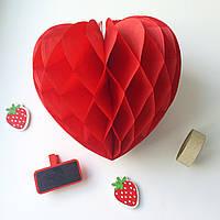 """Подвеска-соты """"Сердце"""", красная, 15 см"""