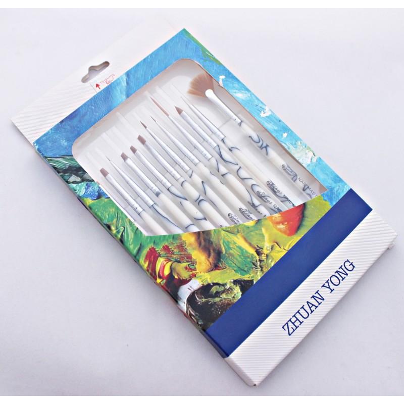 Набор кистей для дизайна из натурального ворса Zhuan Yong 12 шт