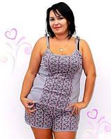 Женская пижама - домашняя одежда, материал хлопок, маечка и шорты в комплекте. Есть батальные размеры, цвета.