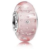 Шарм розовое муранское стекло (pandora) из серебра 925 пробы пандора