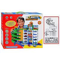 Детский игровой гараж 922, паркинг, гараж с машинами, парковка (6 этажей, 4машинки, в кор-ке, 39,5-34-5-10см)