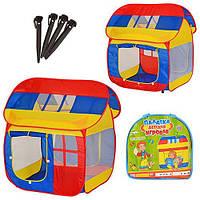 Детская палатка Bambi M 0508 Домик (110-92-114см, 2 входа с занавеской, 3 окна-сетка, в сумке, 40-39-5см)