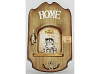 Настенная ключница на 2 крючка KC7006D, декоративная ключница, деревянная ключница счастья в дом
