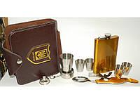 Набор с флягой в барсетке NF4-14, подарочный набор для мужчины, набор фляга стопки в компактном футляре