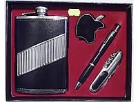 Оригинальный подарок мужчине набор NF6223, набор фляга + зажигалка + ручка + складной нож, подарочный набор