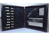 Подарочный набор шахмат шахматы + фляга + зажигалка + нож/штопор, набор в деревянном сундучке большой