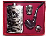 Набор фляга + трубка + стопка + лейка NF194, подарочная фляга с рюмками, фляга стопки в коробке