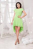 Модное асимметричное платье в светло зелёном цвете с перфорацией. Арт-5724/57