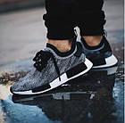 Мужские кроссовки Adidas NMD Runner (в стиле Адидас НМД) серые, фото 3