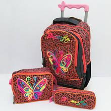 Набір валіза-рюкзак на колесах +пенал+сумка Butterfly бірюзовий