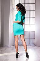 Модное обтягивающее платье в бирюзовом цвете. Арт-5728/57