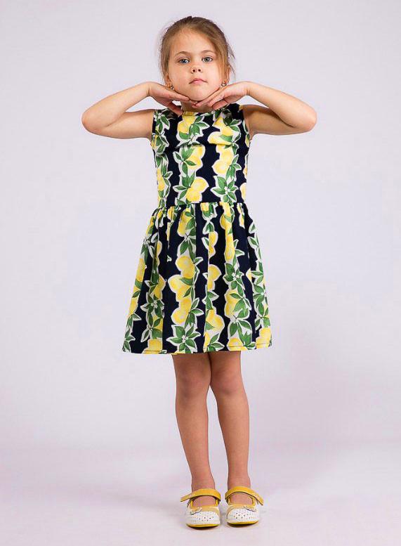 """Летнее детское короткое платье 2-111 """"Креп Лимоны"""""""