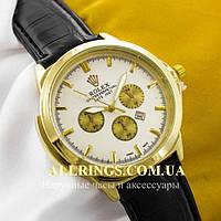 Кварцевые наручные мужские часы Rolex Perpetual Date Just gold white