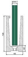 Крепление напольное для стекла каленого толщиной 21,52-25,52мм