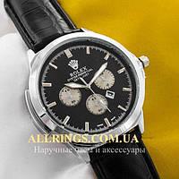 Кварцевые мужские наручные часы Rolex Perpetual Date Just silver black