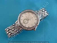 Часы Omega 114062 женские серебристые на плетеном металлическом браслете в стразах