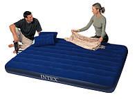 Надувной матрас с надувными подушками Intex Classic Downy Bed 68765 203*152*22см, надувной матрас велюровый