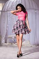 Молодёжное комбинированное платье розовый верх+низ с орнаментом. Арт-5734/57