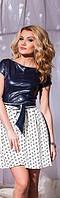 Молодёжное комбинированное платье тёмно синий верх+белый низ с орнаментом. Арт-5734/57