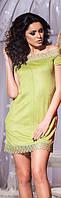 Замшевое оливковое платье со змейкой сзади и открытыми плечами. Арт-5735/57