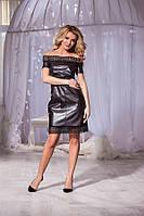Кожаное коричневое платье со змейкой сзади и открытыми плечами. Арт-5736/57